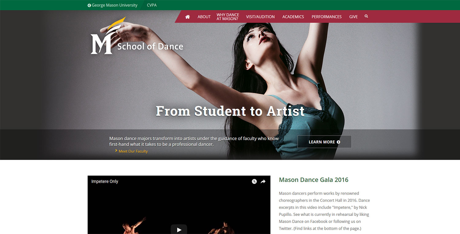 George Mason University, School of Dance, Virginia